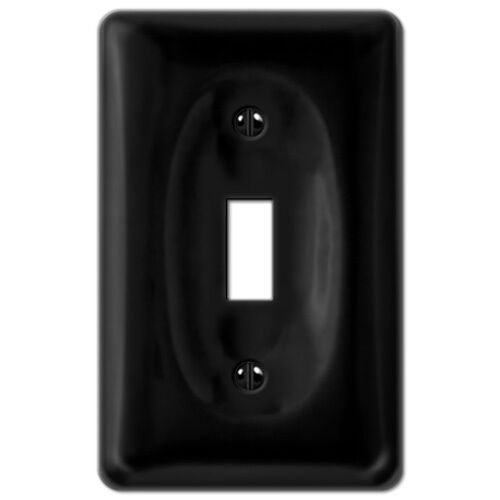 Black Porcelain Toggle Switchplate ceramic wall plate outlet rocker light switch eBay