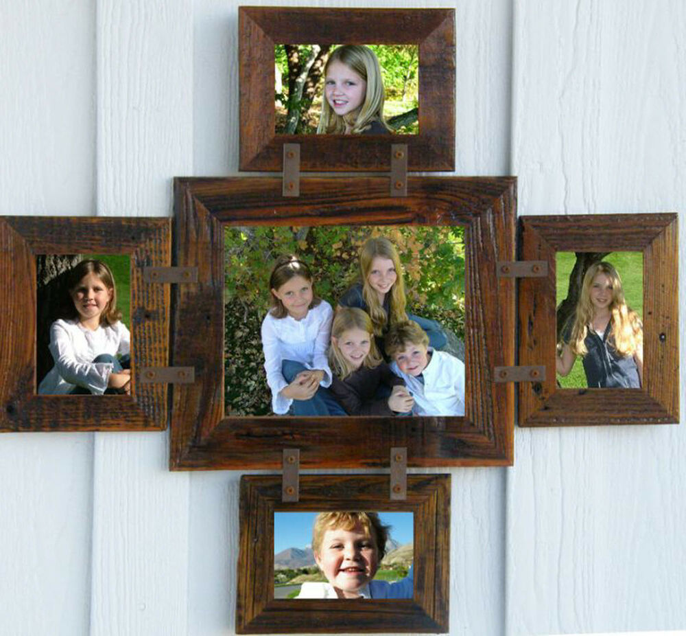 Rustic Country Barn Wood 5 Picture Collage Photo Frame