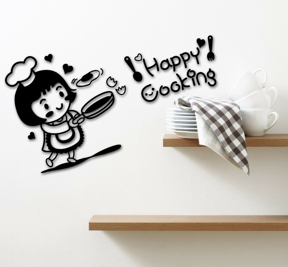 Stickers For Kitchen: Wall Stickers Vinyl Decal For Kitchen Chef Happy Cooking