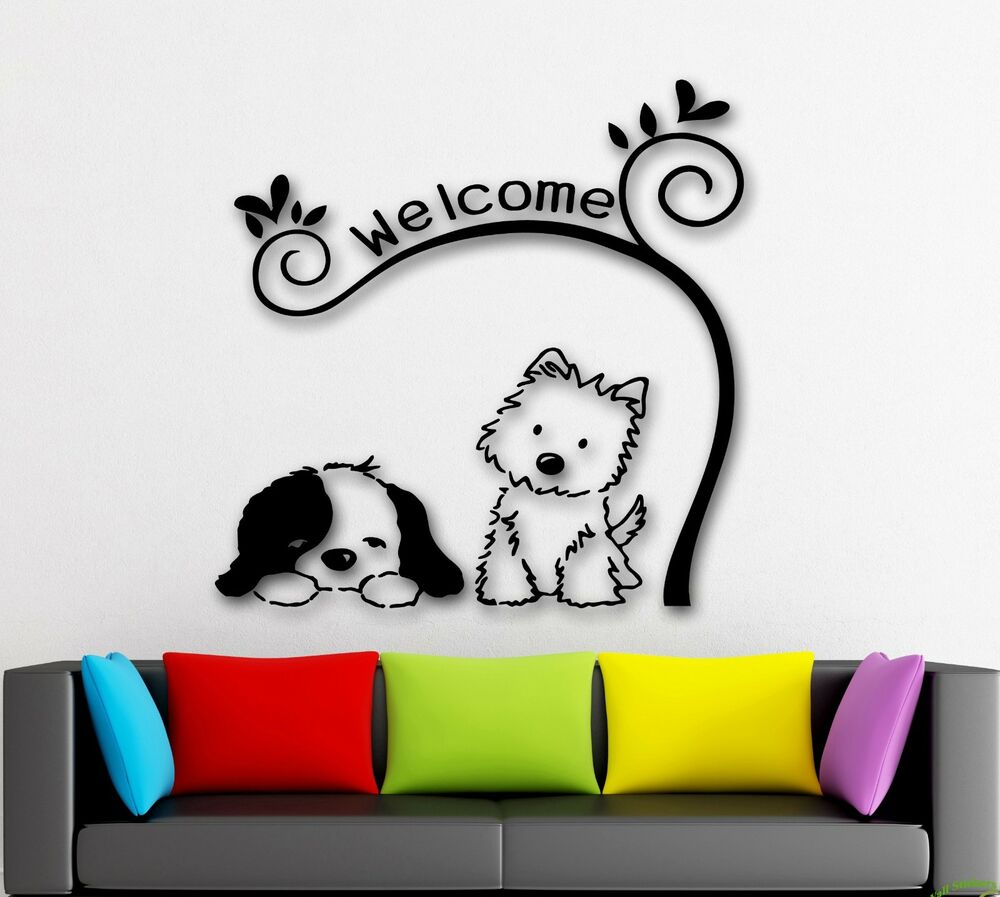 wall stickers dog cute animal pet welcome nursery kids cat dog welcome wall stickers removable wall decal