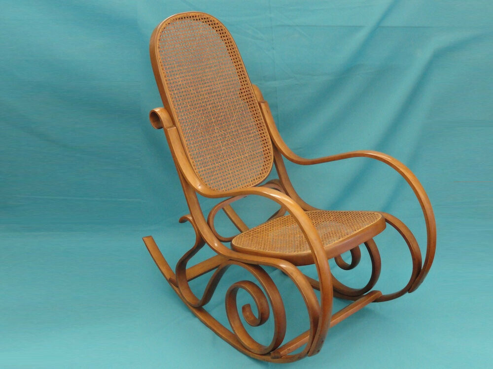 thonet style cane bentwood rocking chair made in italy ebay