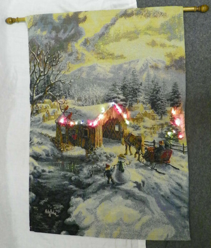 Led lighted wall hanging winter christmas covered