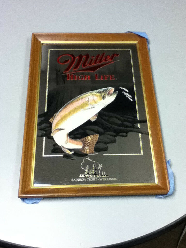 Xw1 Miller Beer Sign High Life Mirror 5th Rainbow Trout