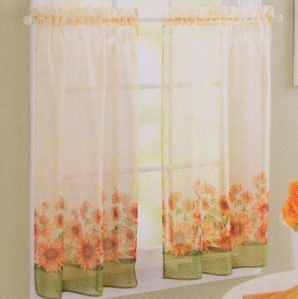 Country Sunflower Green Yellow Kitchen Curtain 24L Tier Set S ...