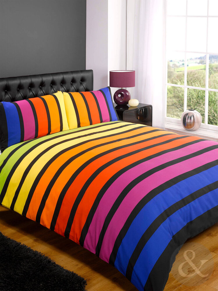 Gradient Striped Duvet Cover Multicoloured Red Purple