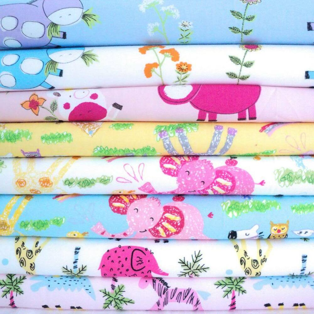 Childrens Nursery Animal Prints 100 Cotton Fabric Baby
