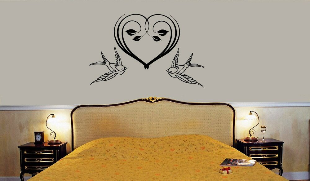 wall stickers vinyl decal for bedroom romance love birds heart