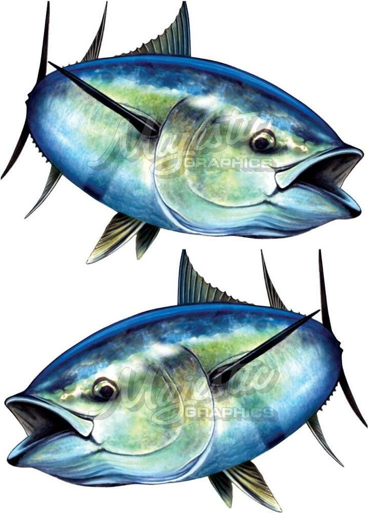 BLUEFIN TUNA X  Mirrored Pair Mm X Mm LARGE BOAT DECALS - Blue fin boat decals