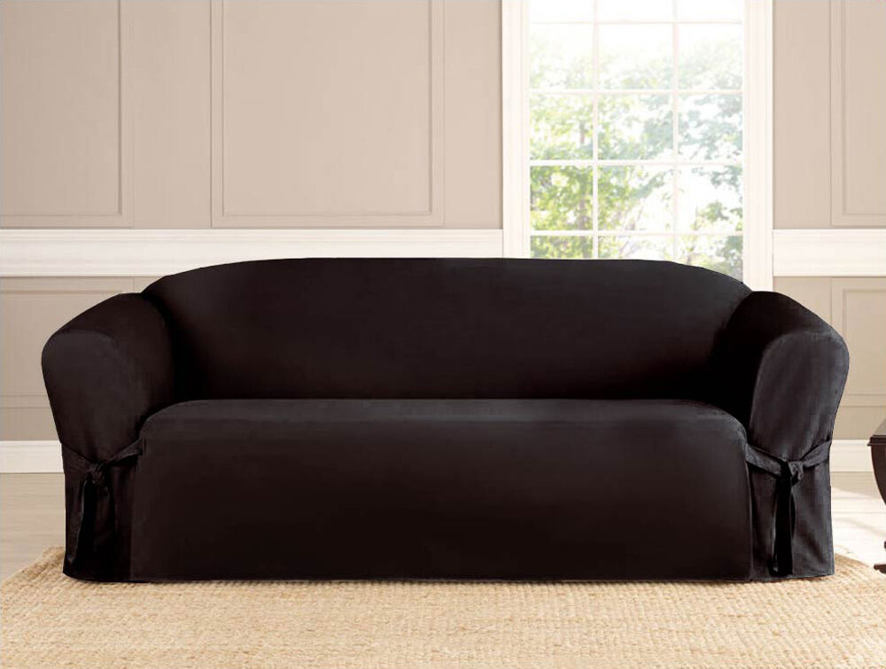 3 PC MICRO-SUEDE FURNITURE SLIPCOVER SOFA LOVESEAT CHAIR COUCH COVERS, BLACK : eBay