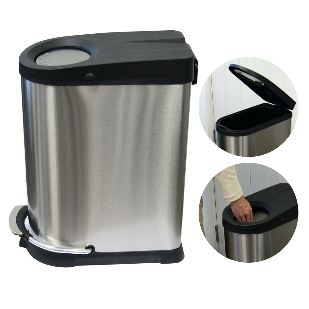 STAINLESS STEEL PEDAL BIN KITCHEN WASTE DUAL LID 40 LITRE