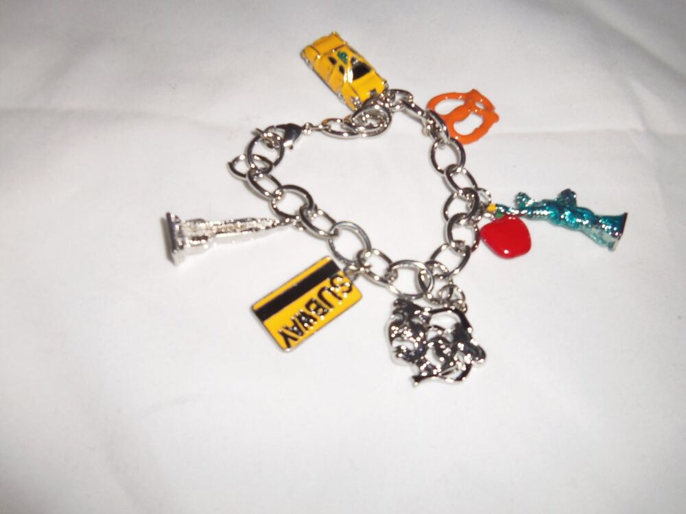 new york city charm bracelet big apple taxi nyc statue of