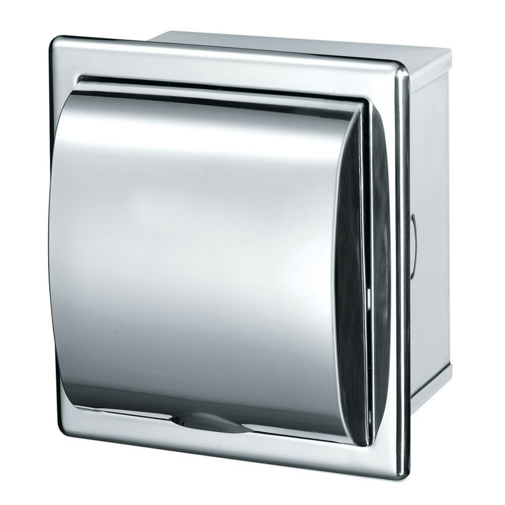 Toilet Roll Dispenser Tissue Holder Loo Recessed Polished