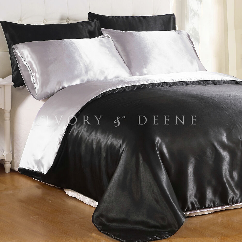 black silver queen size satin reversible doona quilt duvet. Black Bedroom Furniture Sets. Home Design Ideas