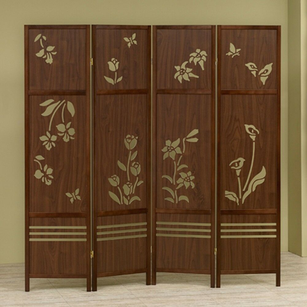 Wood Screens Room Dividers ~ Shoji panel room dividers wooden floral butterflies