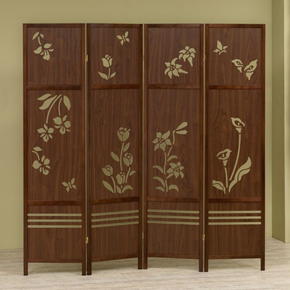 Carved Wooden Screens ~ Shoji panel room dividers wooden floral butterflies