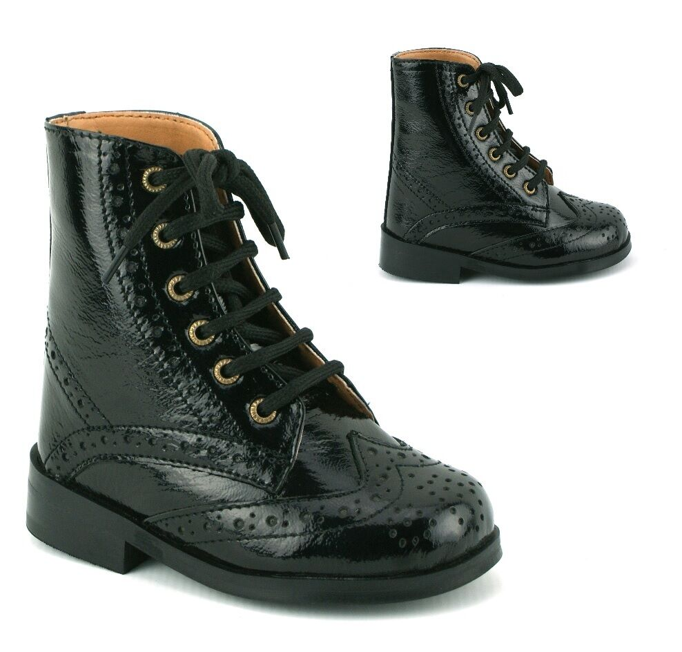 boys infants real leather lace black patent chelsea