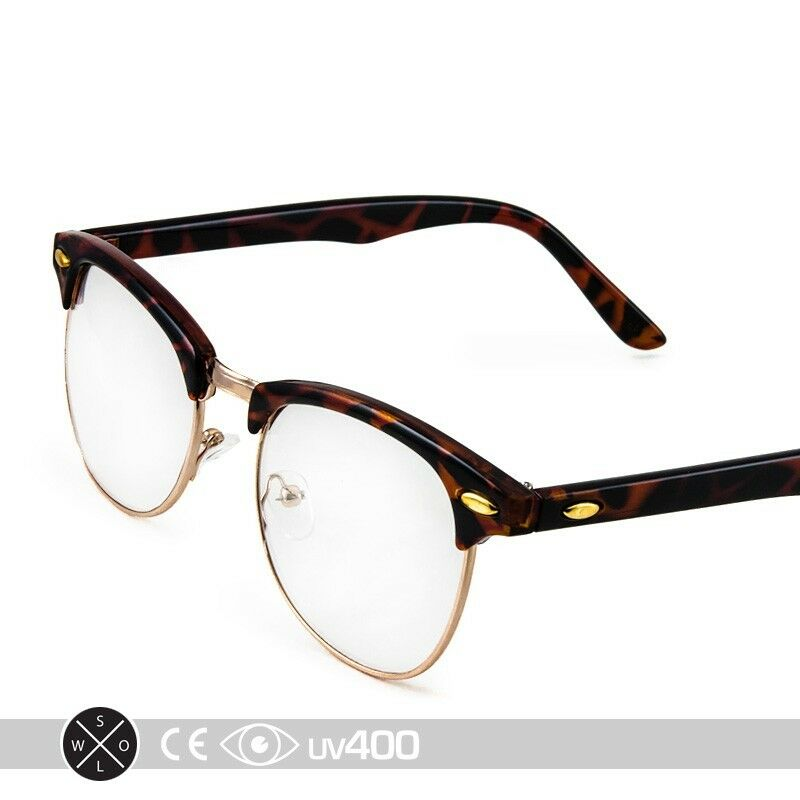 455729618aaa Details about Tortoise Gold Vintage 80s Clubmaster Clear Lens Hipster Nerd  Glasses S012