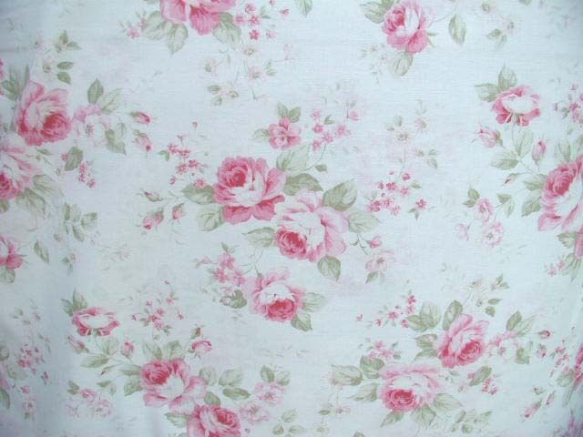 quilt wow pink cabbage roses antique white cotton fabric htf ebay