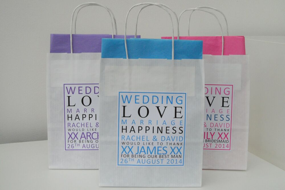 Personalised Wedding Gift Bags Uk : Personalised Wedding Favour Gift Bag eBay