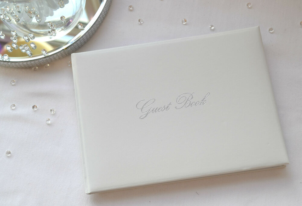 Beautiful Plain White Wedding GUEST BOOK With Silver Detailing EBay