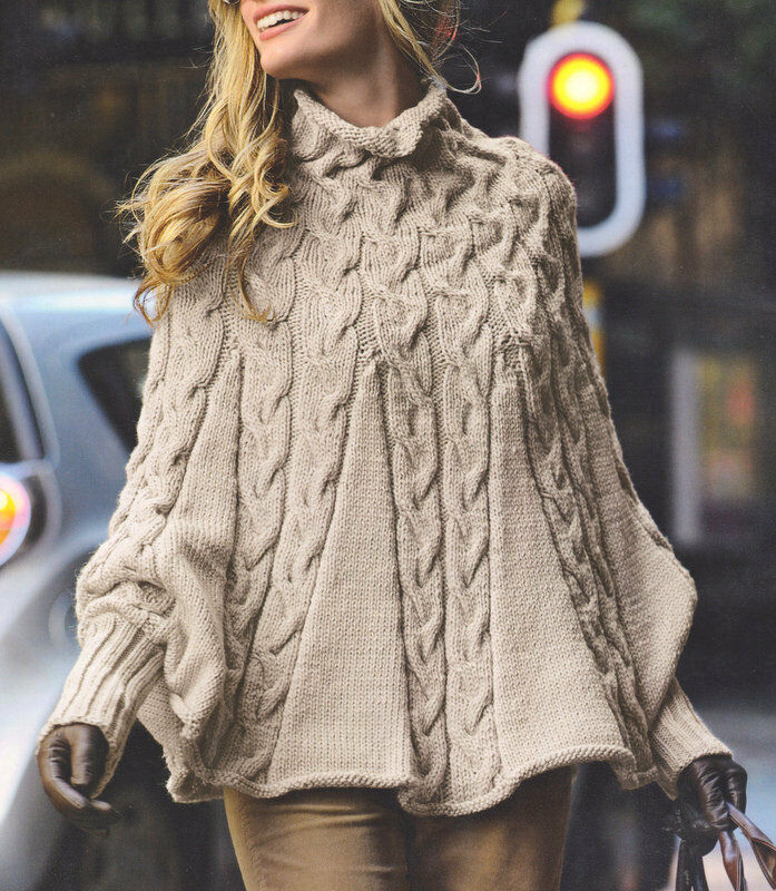 Knitting Pattern Poncho With Collar : Aran Cable Poncho High Collar & Cuffs - S/M M/L Knitting ...