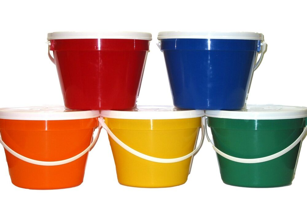 5 1 Gallon Plastic Buckets Lids 1 Ea Red Orange Green
