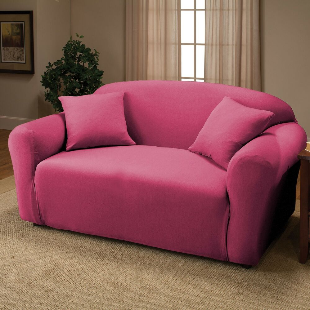 Pink jersey loveseat stretch slipcover couch cover furniture love seat cover ebay Cover for loveseat