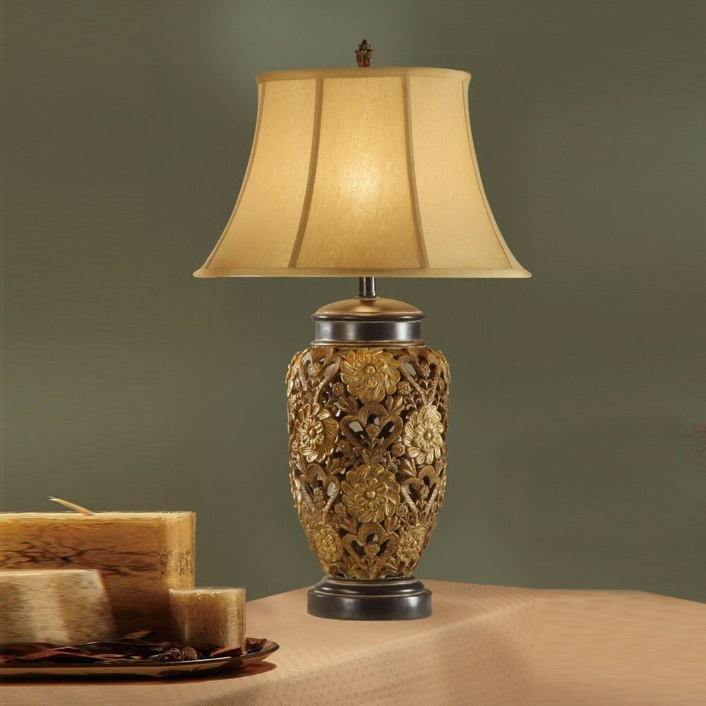 Vintage Table Lamps With Flowers : Vintage gold bronze table lamp floral carved metal base