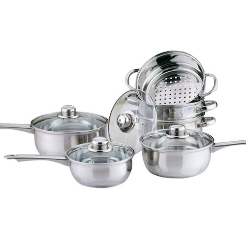 6pc cookware steamer set stainless steel saucepan pan pot kitchen cook sauce ebay. Black Bedroom Furniture Sets. Home Design Ideas