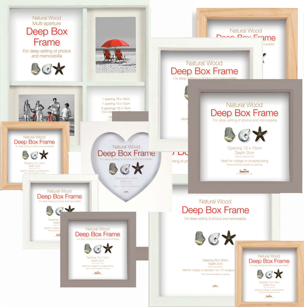 Deep Box Frames - Wooden Display Picture Frames Choice of 3 Colours ...