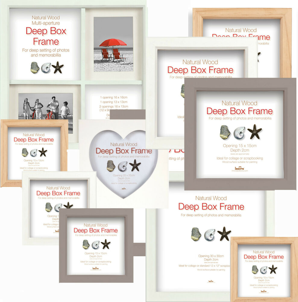 Deep Box Frames Wooden Display Picture Frames Choice Of 3 Colours