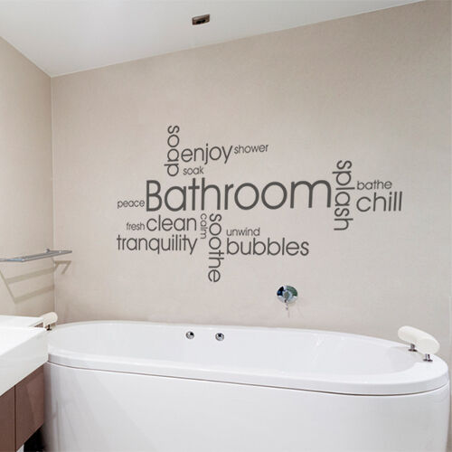 Bathroom wall art words quote wall sticker decal modern for Bathroom wall decor uk