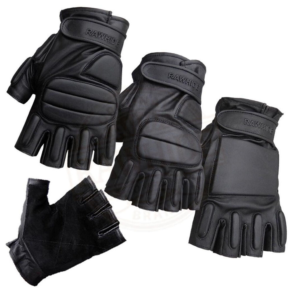LEATHER FINGERLESS PADDED GLOVES BIKERS TACTICAL SECURITY ...