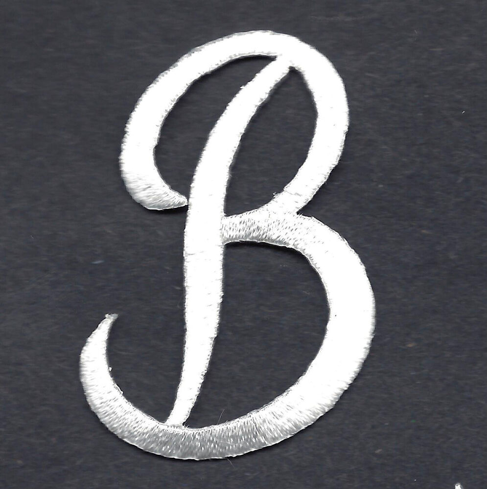 "Script Letters White Script Letter ""B"" Iron on Embroidered Applique ..."