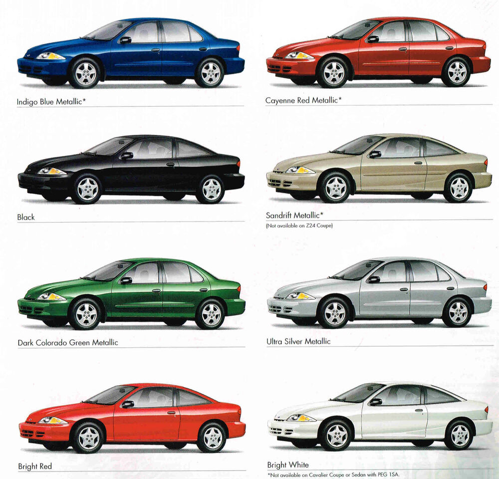 2001 Chevy CAVALIER Brochure / Catalog With Color Chart