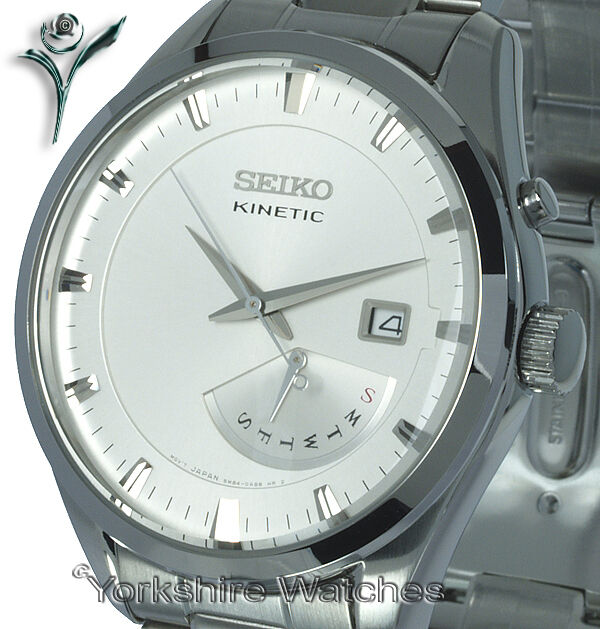 New seiko kinetic silver face retro day date stainless steel bracelet srn043p1 ebay for Movado kinetic