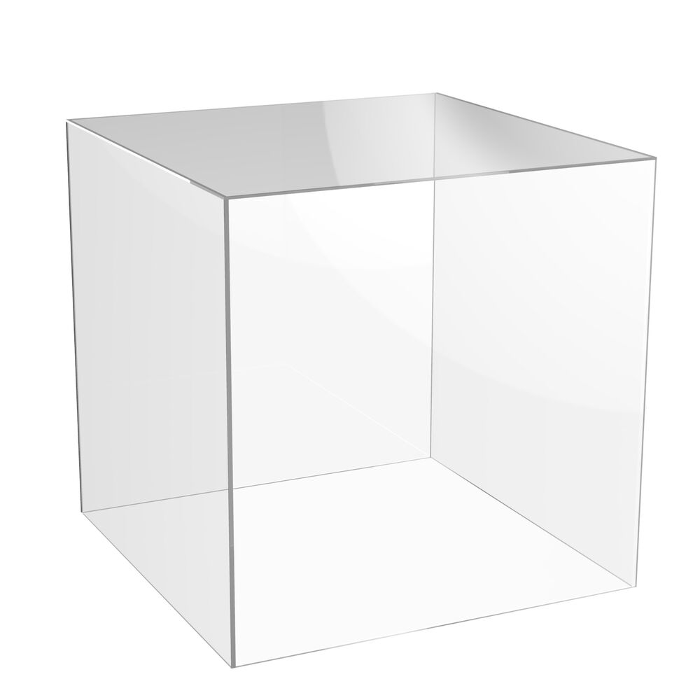 Acrylic Cube Display Stand Square 5 Sided Box Perspex Tray