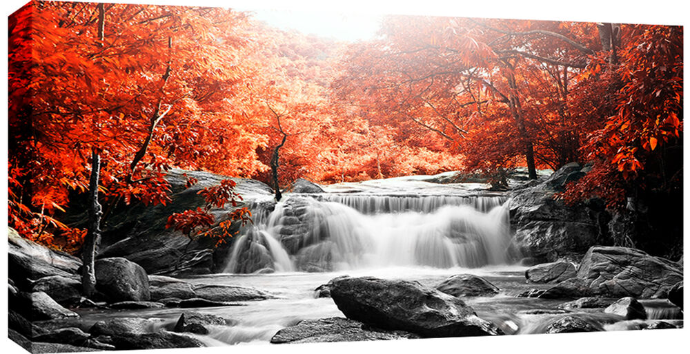 Large Waterfall Burnt Orange Trees Canvas Wall Art Picture