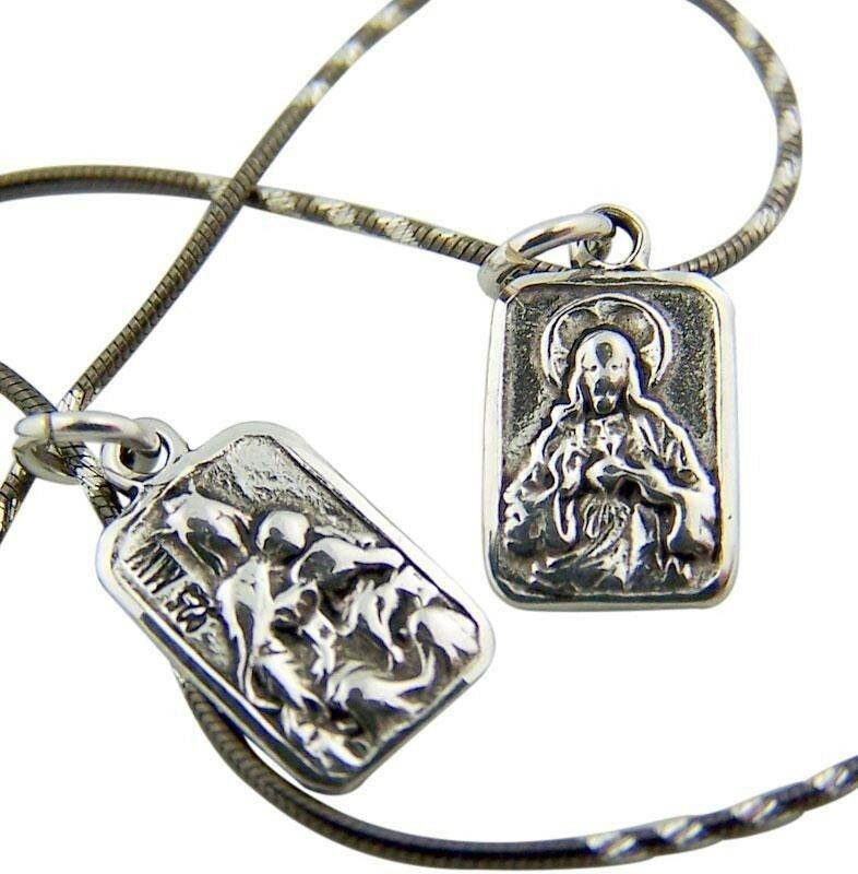 "Gold Scapular Necklace: Sacred Heart W OL Mt Carmel 3/8"" Sterling Silver Scapular"