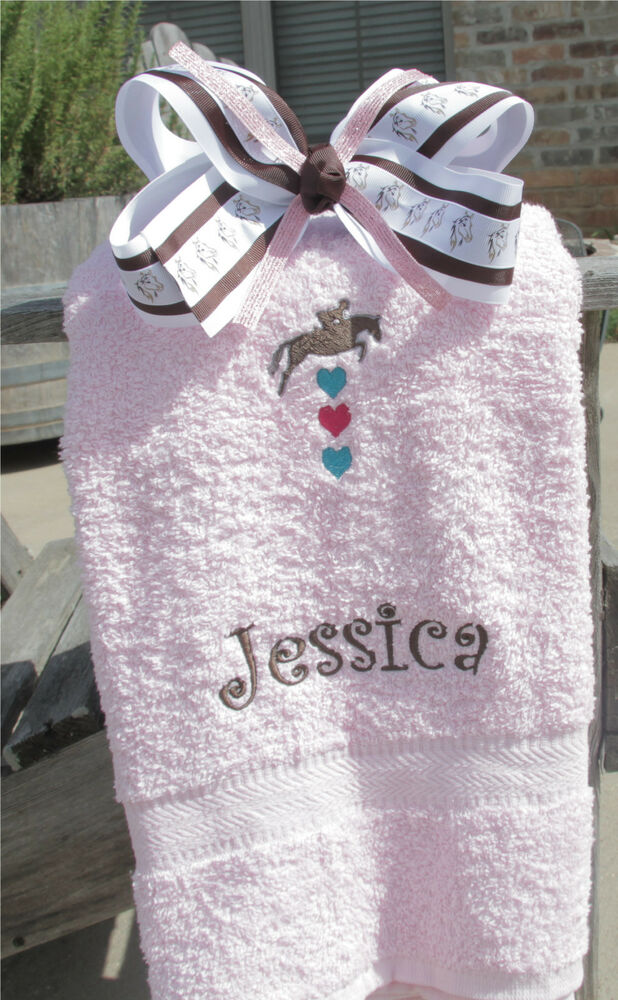 Personalized Embroidered Horse Lovers Towel And Bow