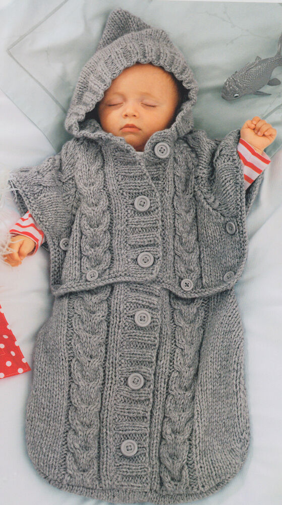 Knitting Pattern Baby Poncho With Hood : Clever Chunky Baby Sleeping Bag - Converts to Hooded ...