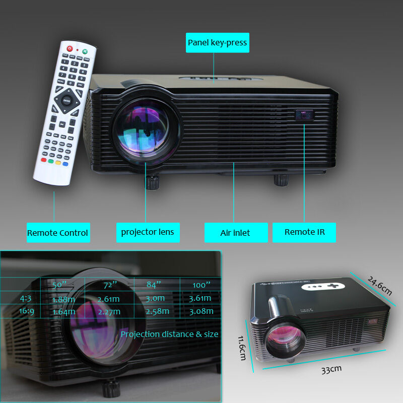 Full hd 720p 1080p 3d home theater led projector 2 hdmi 2 usb port dvd vga tv ebay - How to add more hdmi ports to your tv ...