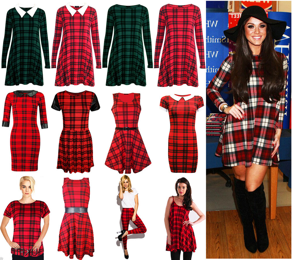 red swing dress plus size women red tartan check print swing skater dress vest top