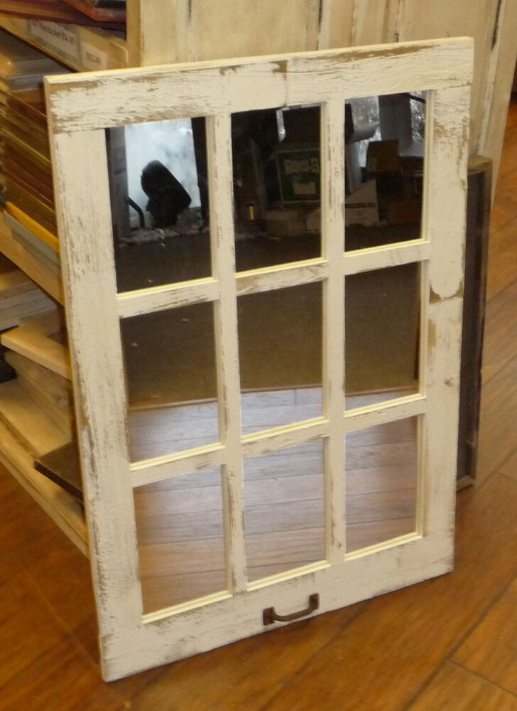 Barn wood 9 pane window mirror vertical rustic home decor for Rustic home decor and woodworking