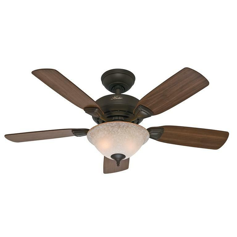 "Hunter Fan Company Builder Great Room New Bronze Ceiling: HUNTER 44"" Caraway ""New Bronze"" Ceiling Fan With Light"