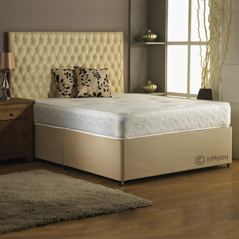 Hf4you suede backcare memory foam divan bed 4 colour for 4ft 6 divan bed