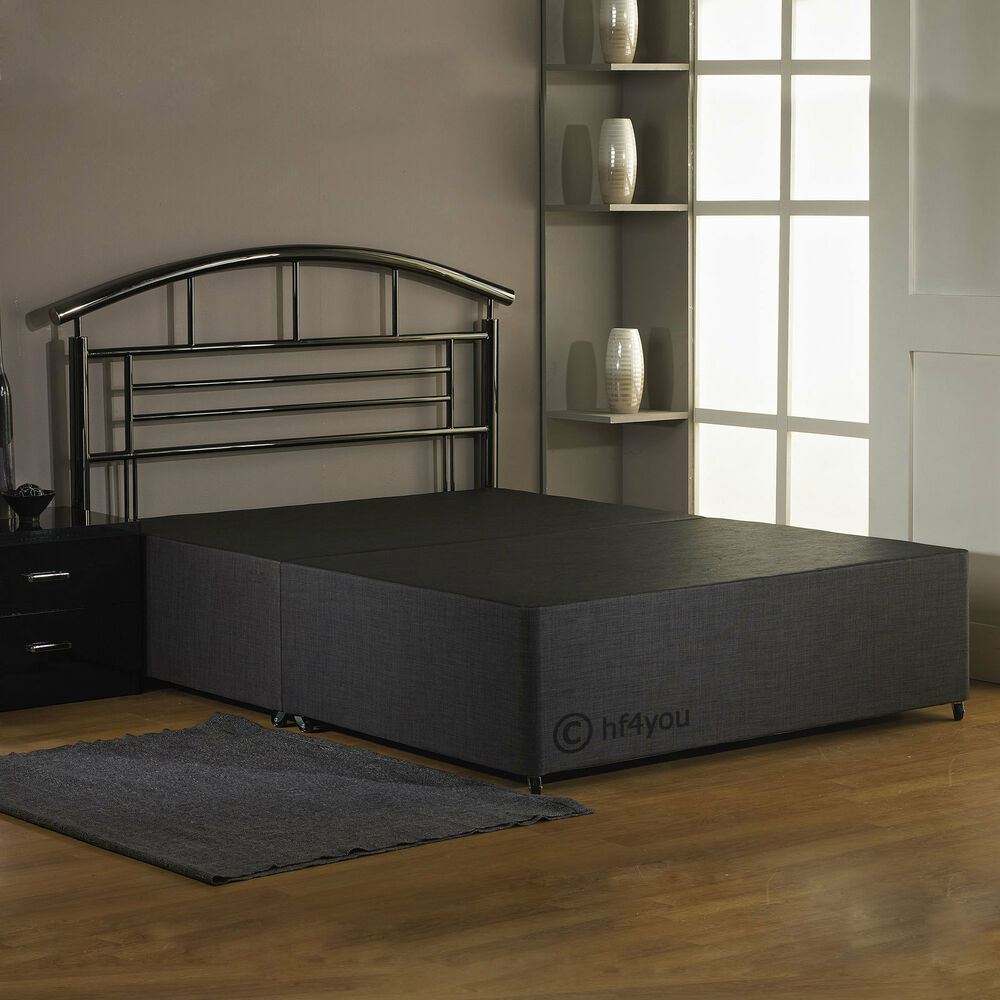 Hf4you single double king fabric divan base charcoal for Black double divan bed