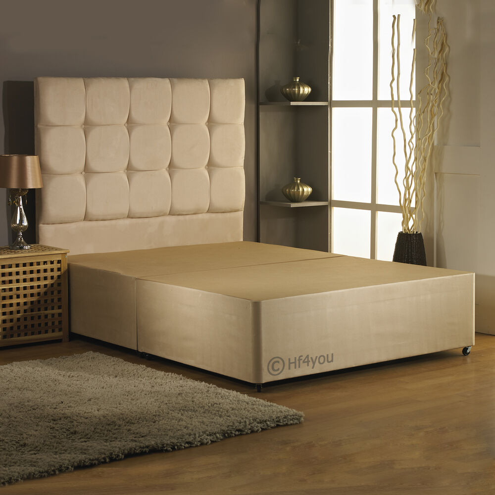 Hf4you 6ft Super King Suede Divan Bed Base Matching Headboard Colour Options Ebay