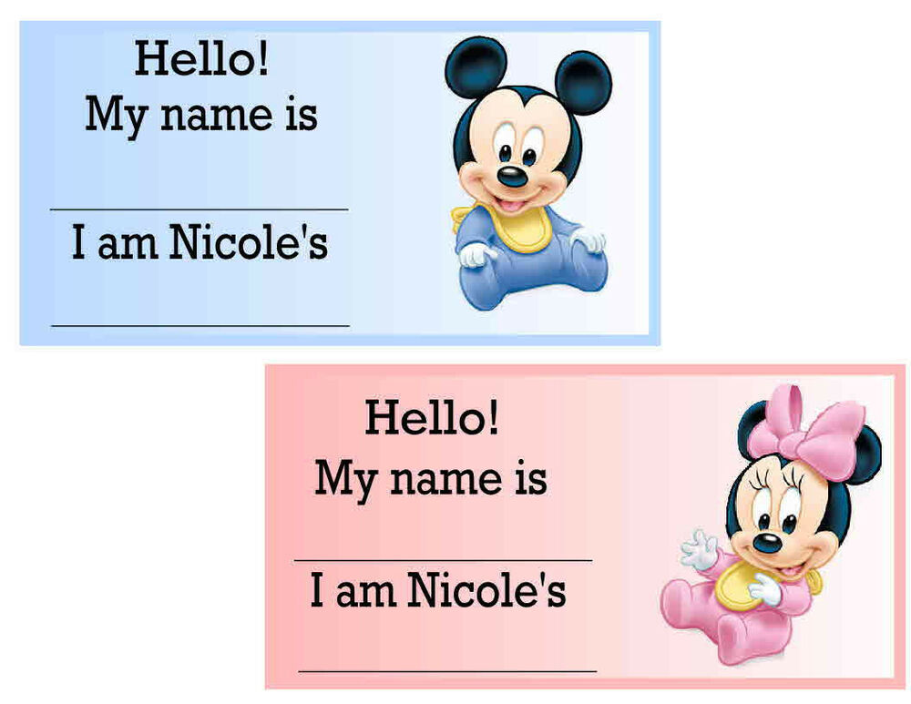 20 BABY MICKEY BABY MINNIE BABY SHOWER NAME TAGS | eBay