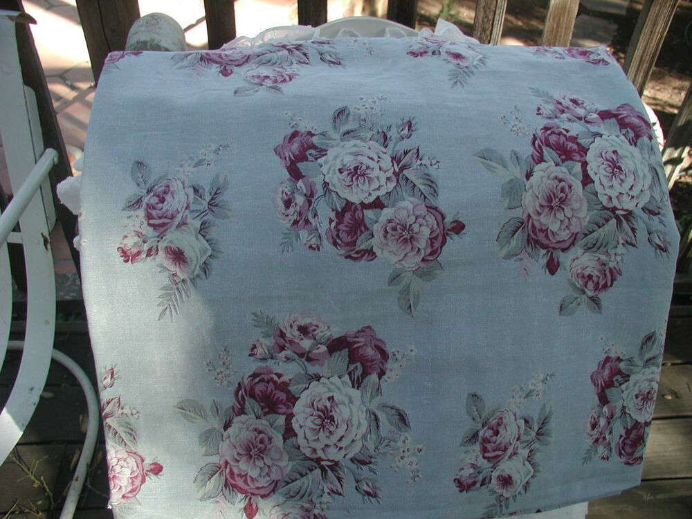 rachel ashwell shabby chic manor wine cabbage roses stone washed linen bty ebay. Black Bedroom Furniture Sets. Home Design Ideas